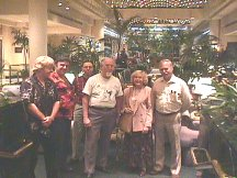 Mary Burroughs with ERB fans in the lobby of the Marriott